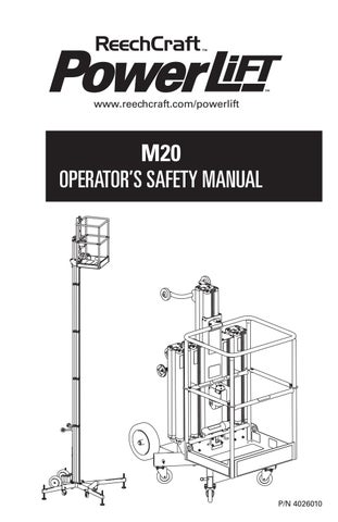 PowerLift M20 Operator's Manual 2015 by ReechCraft Access