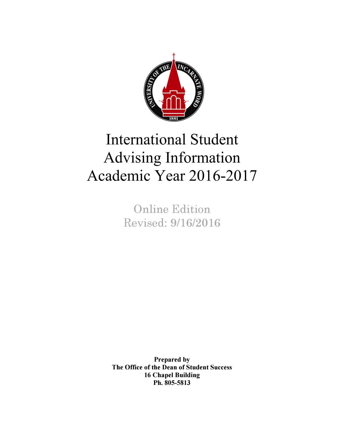 Undergrad Int'l Advising 16-17 by UIW International