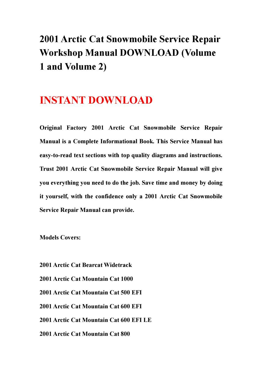 hight resolution of 2001 arctic cat snowmobile service repair workshop manual download volume 1 and volume 2 by kjsnehfnn issuu