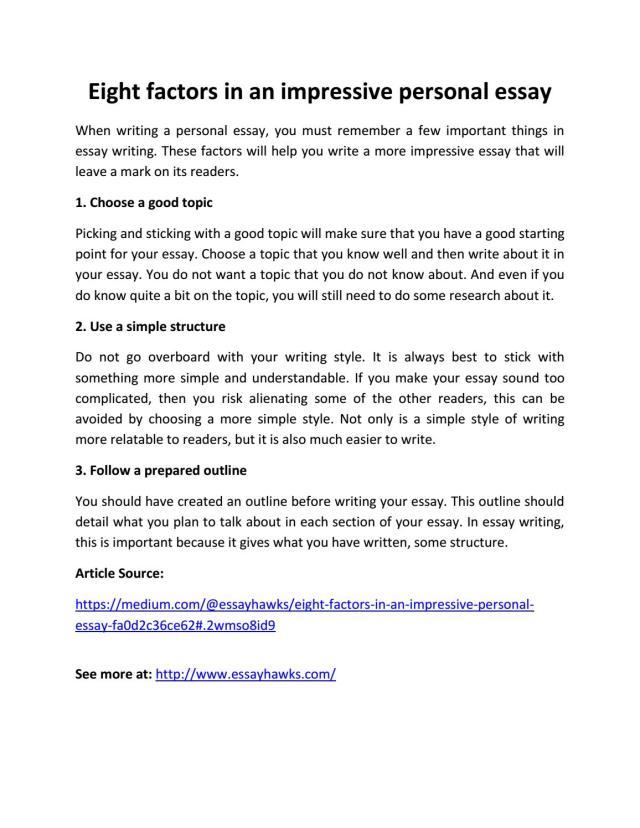 Eight factors in an impressive personal essay by Essayhawks - issuu