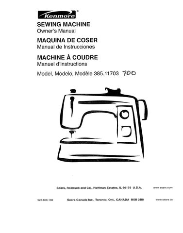 Kenmore 385 11703 sewing machine user manual by David
