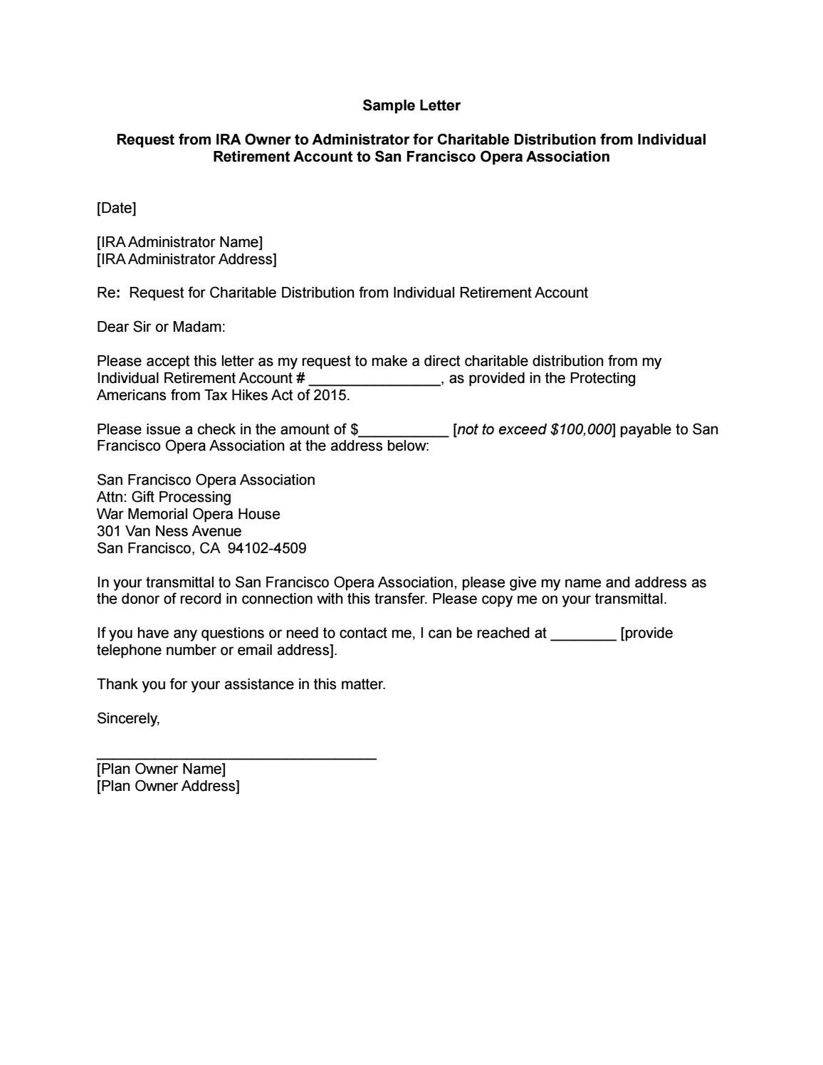 Ira Charitable Rollover Sample Letter Instructions To Ira