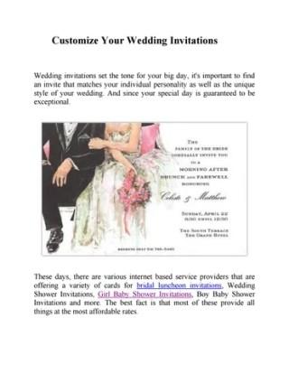 Customize Your Wedding Invitations