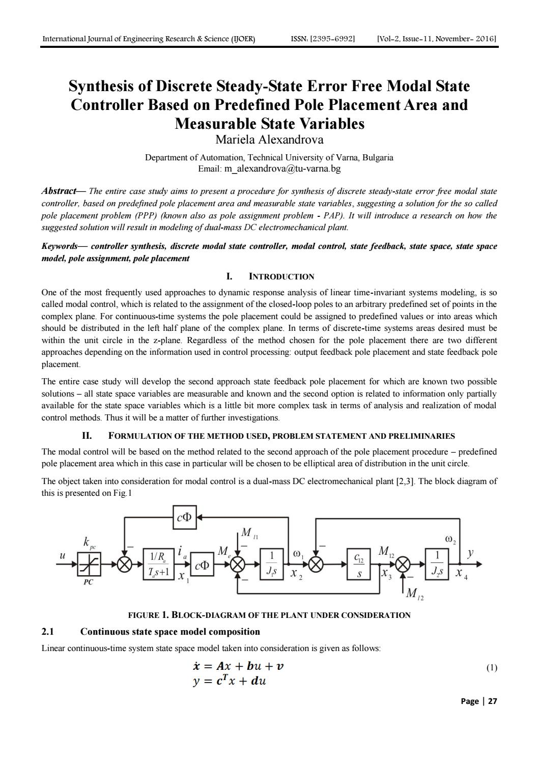 hight resolution of synthesis of discrete steady state error free modal state controller based on predefined pole placem by engineering journal ijoer issuu