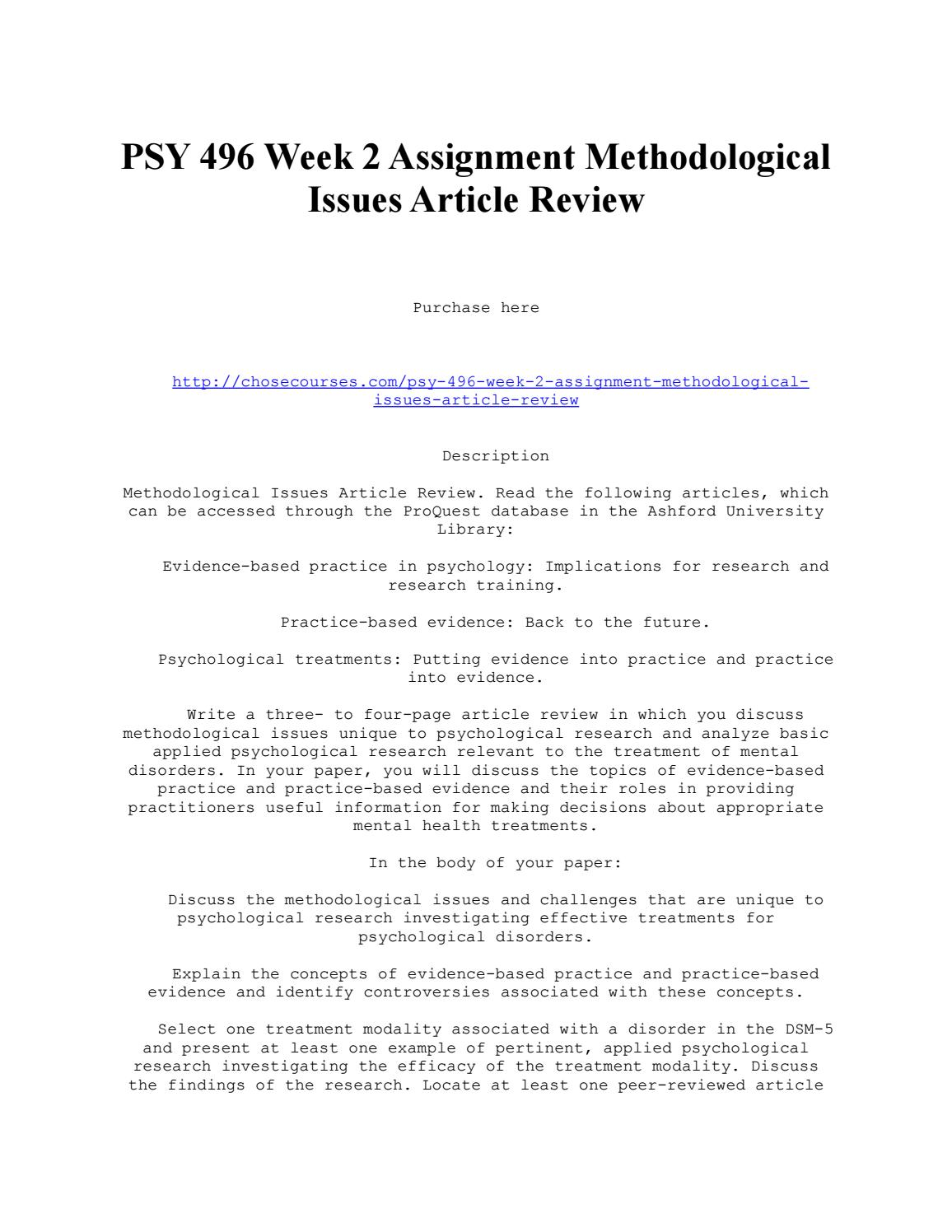 Psy 496 Week 2 Assignment Methodological Issues Article Review By