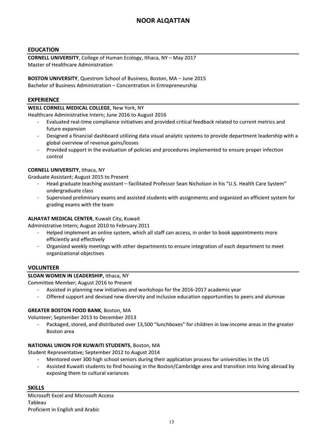 Sample Resume For Hr Assistant Sloan Students Resume Book By College Of Human Ecology Issuu