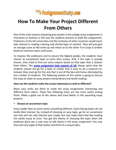 How To Make Your Project Different From Others Know From