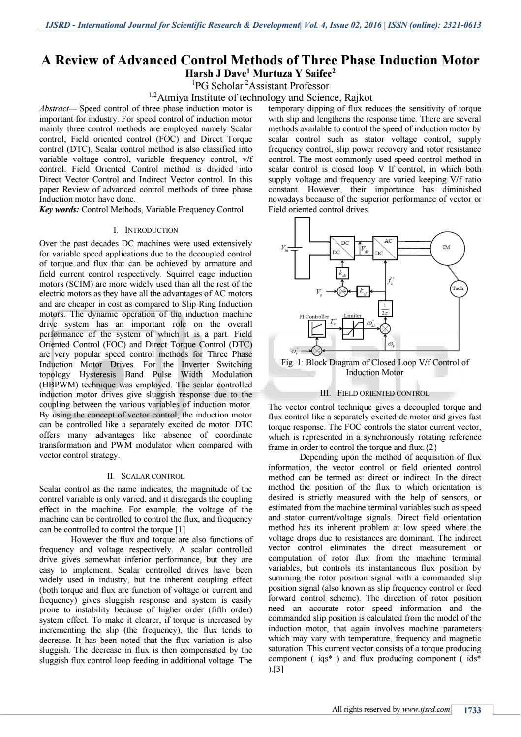 hight resolution of a review of advanced control methods of three phase induction motor