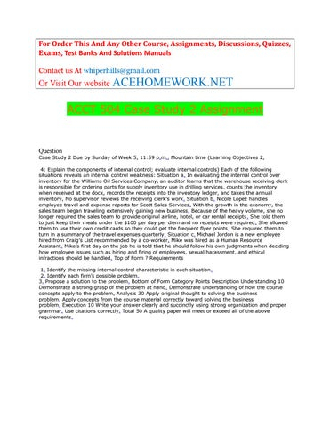 Acct 504 Case Study 2 Assignment By ACEHOME NET Issuu