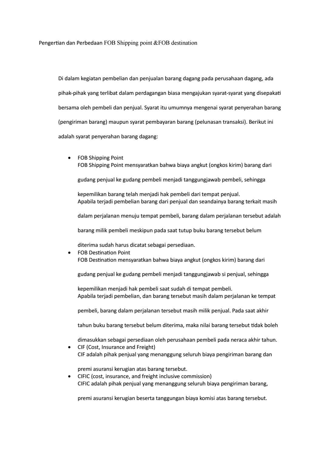 Syarat Penyerahan Barang Dagang : syarat, penyerahan, barang, dagang, Pengertian, Perbedaan, Shipping, Point, Akuntansi, Lengkap, Issuu