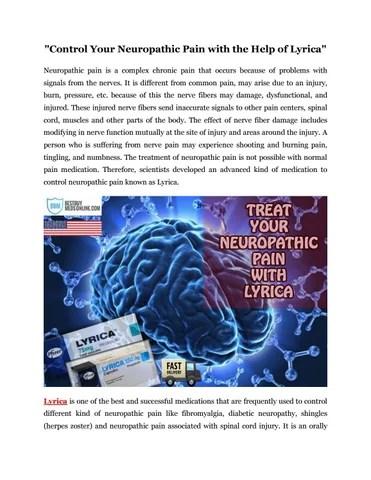 Buy Lyrica for Nerve Pain (25mg/50mg/75mg/150mg) No ...