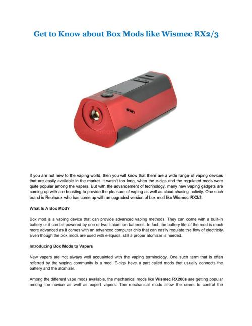 small resolution of get to know about box mods like wismec rx2 3