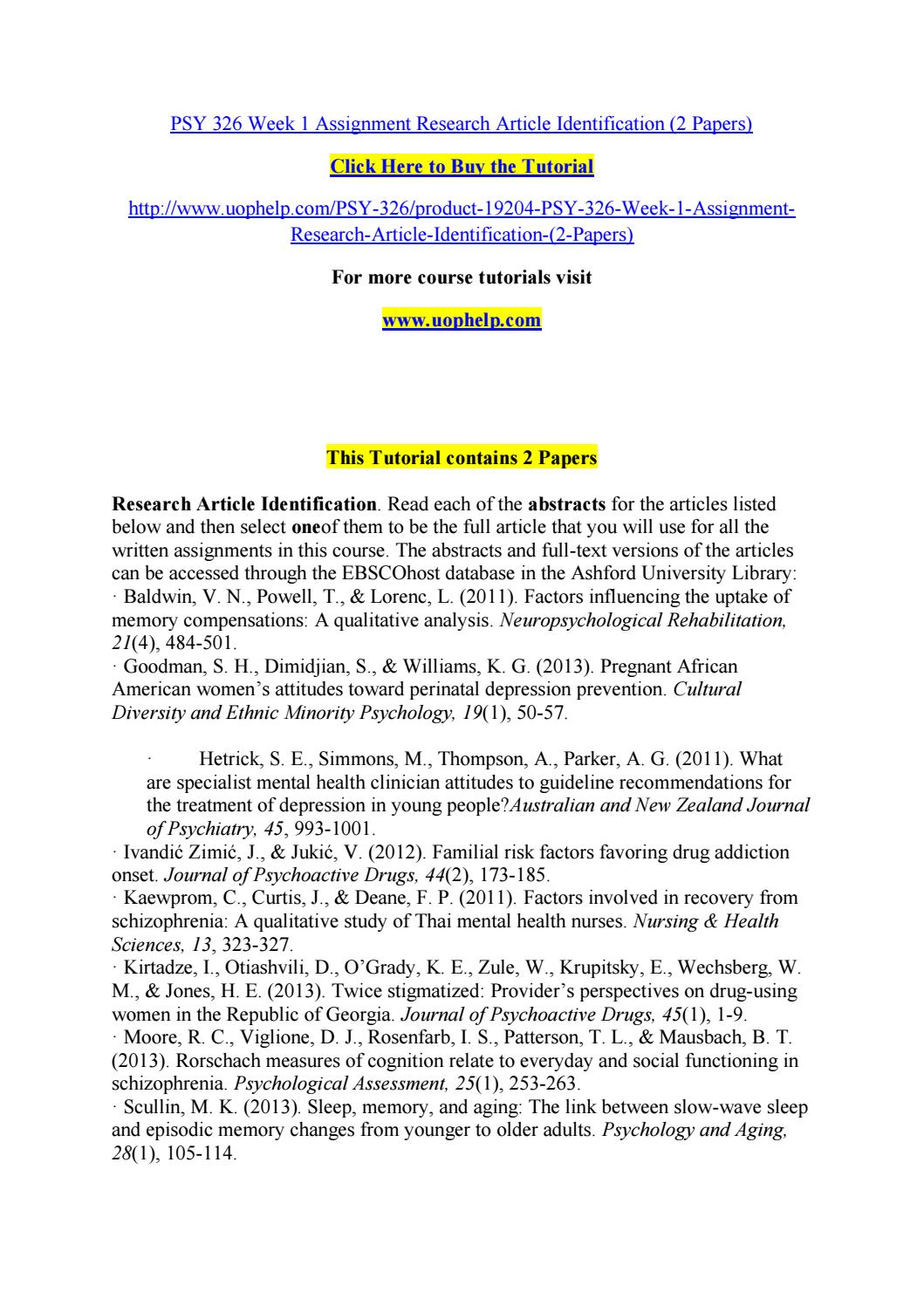 Psy 326 Week 1 Assignment Research Article Identification 2 Papers