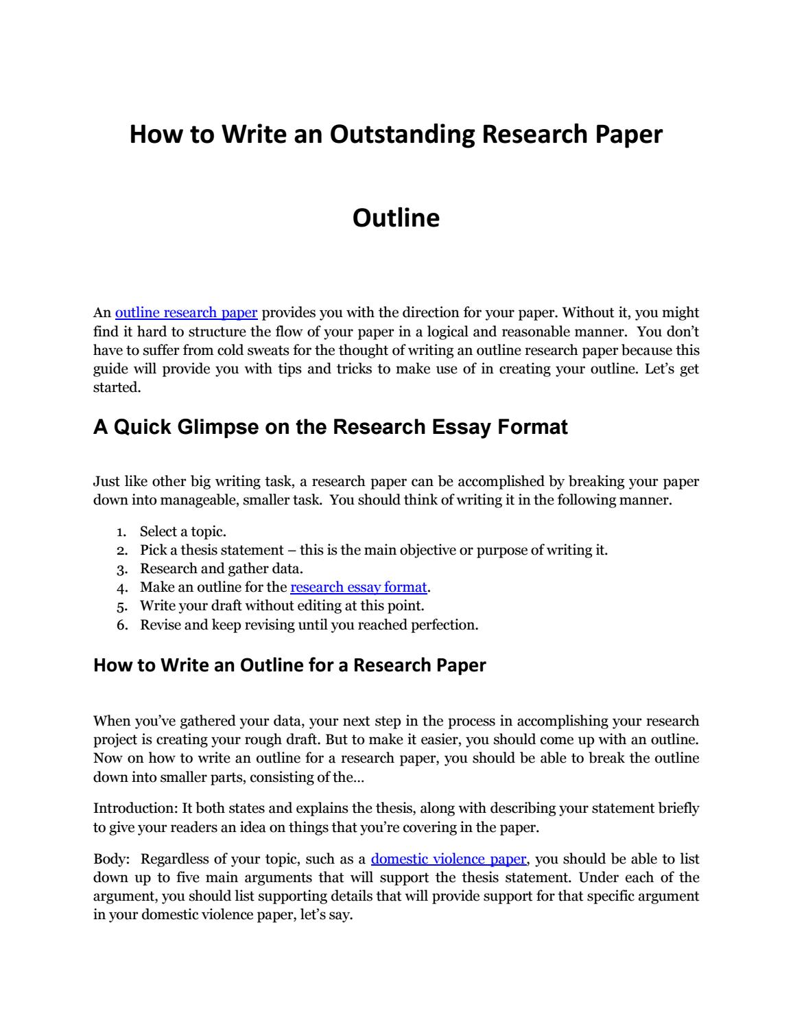 Writing An Impressive Outline Research Paper By ResearchPaperOutline