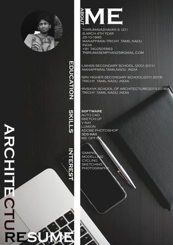 ARCHITECTURE INTERNSHIP RESUME By Thiruma Sempiyan Issuu