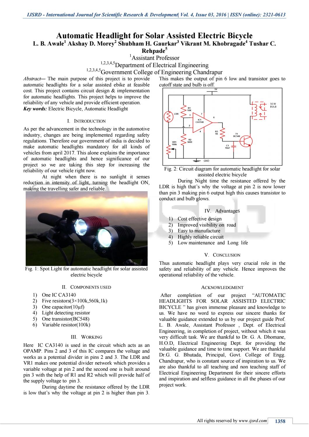 hight resolution of automatic headlight for solar assisted electric bicycle