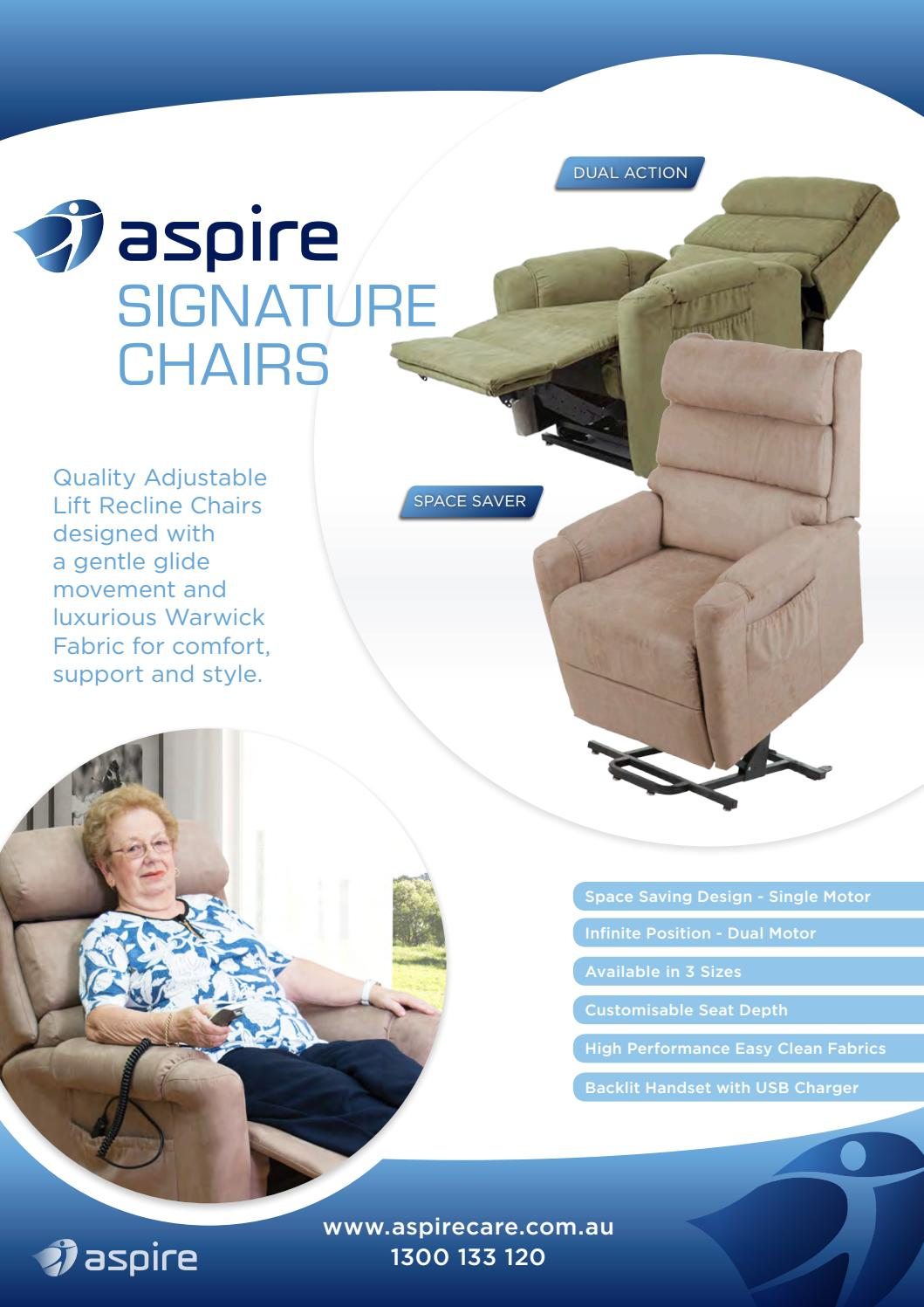 seat lift chair outdoor papasan cushion cover aspire signature recline chairs by aidacare - issuu