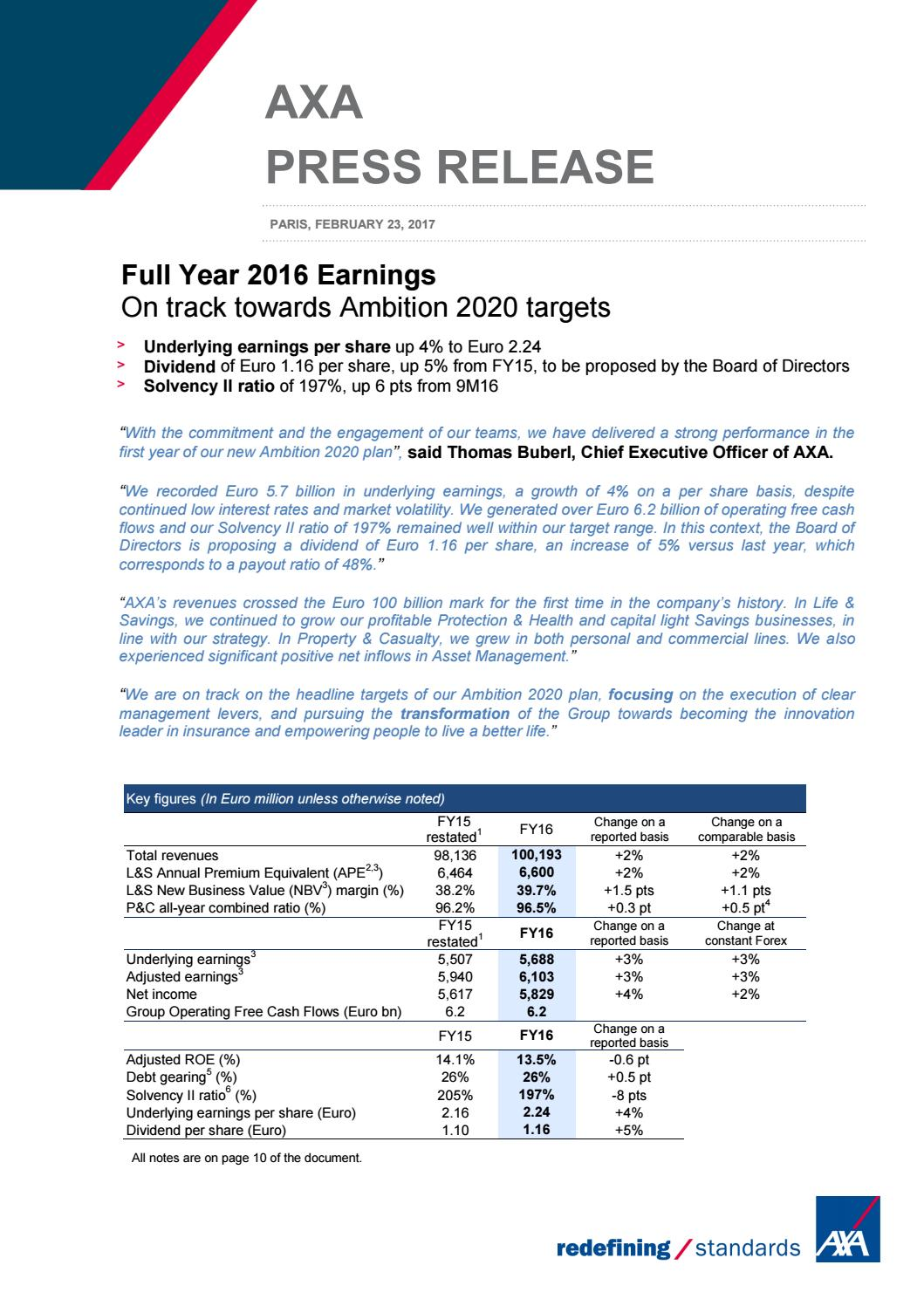 PDF Download: AXA Full Year 2016 Earnings by iPMI Magazine Health and Medical Insurance Assistance News Magazine - Issuu