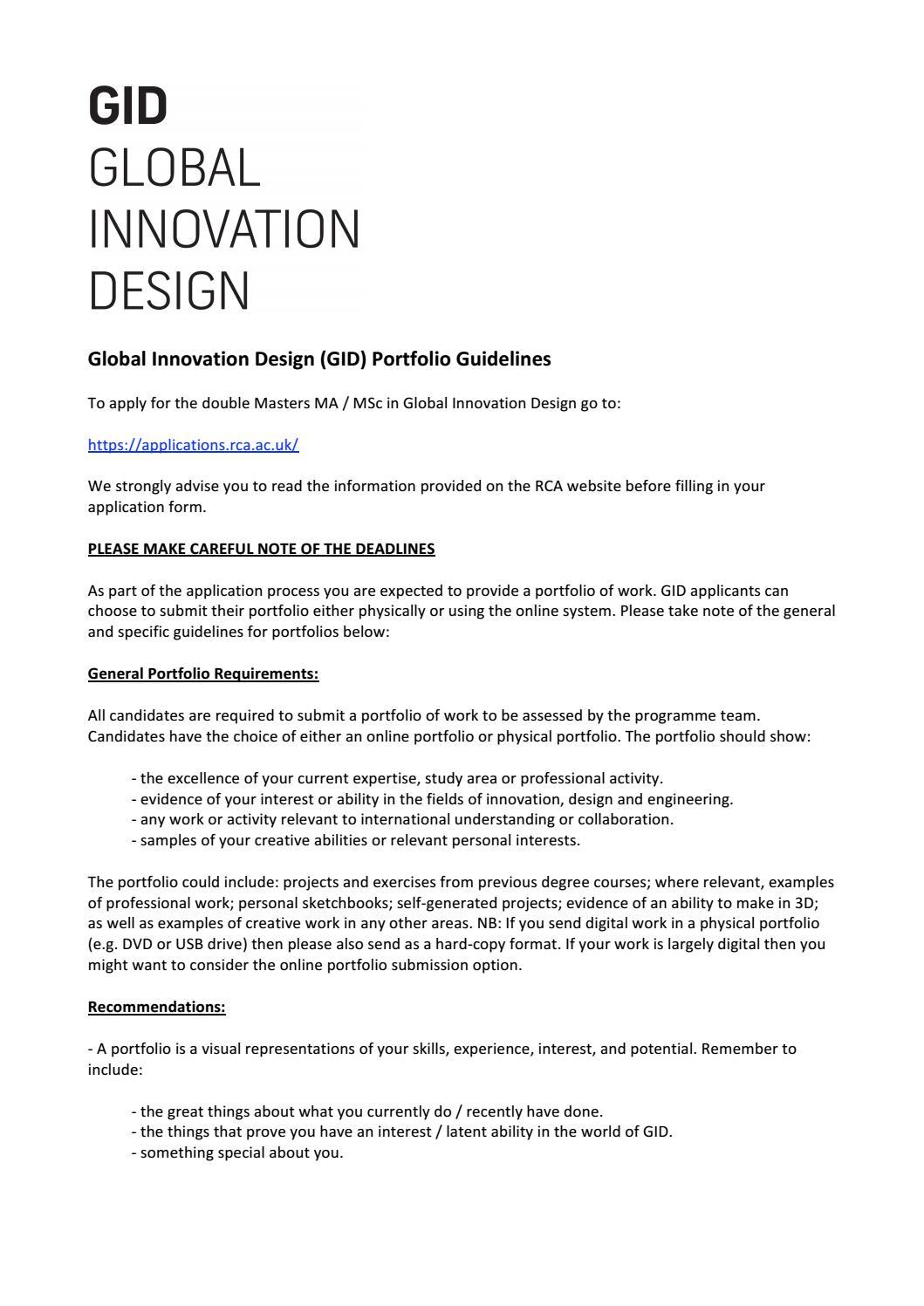 Rca Innovation Design Engineering Portfolio