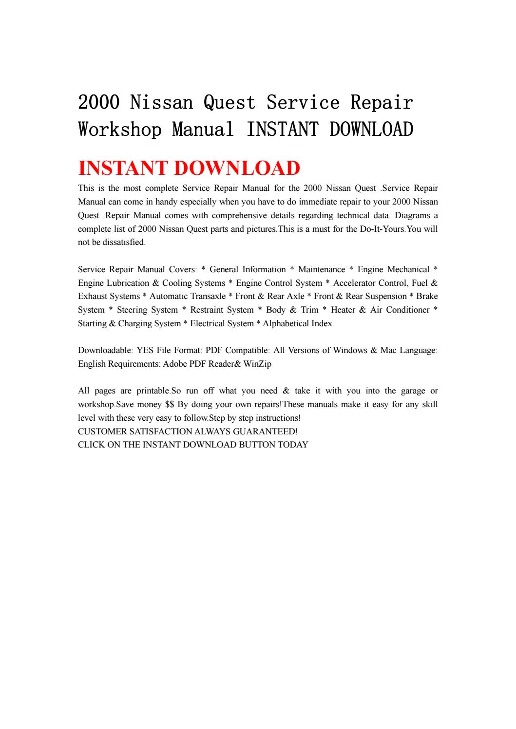 hight resolution of 2000 nissan quest service repair workshop manual instant download