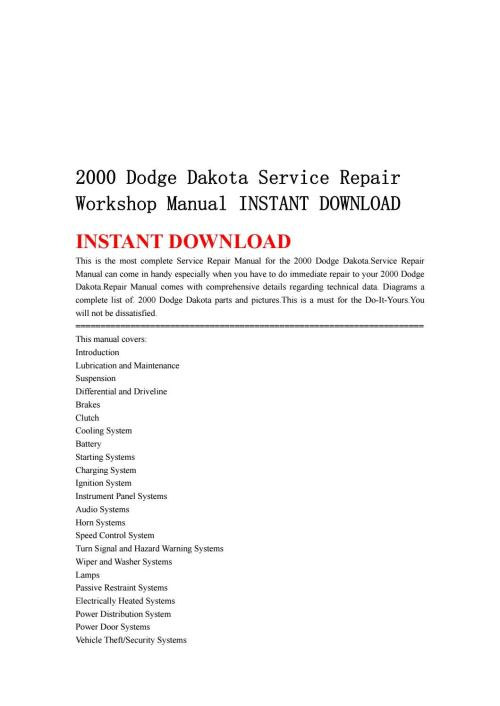 small resolution of 2000 dodge dakota service repair workshop manual instant download by ksjefkmsef87 issuu