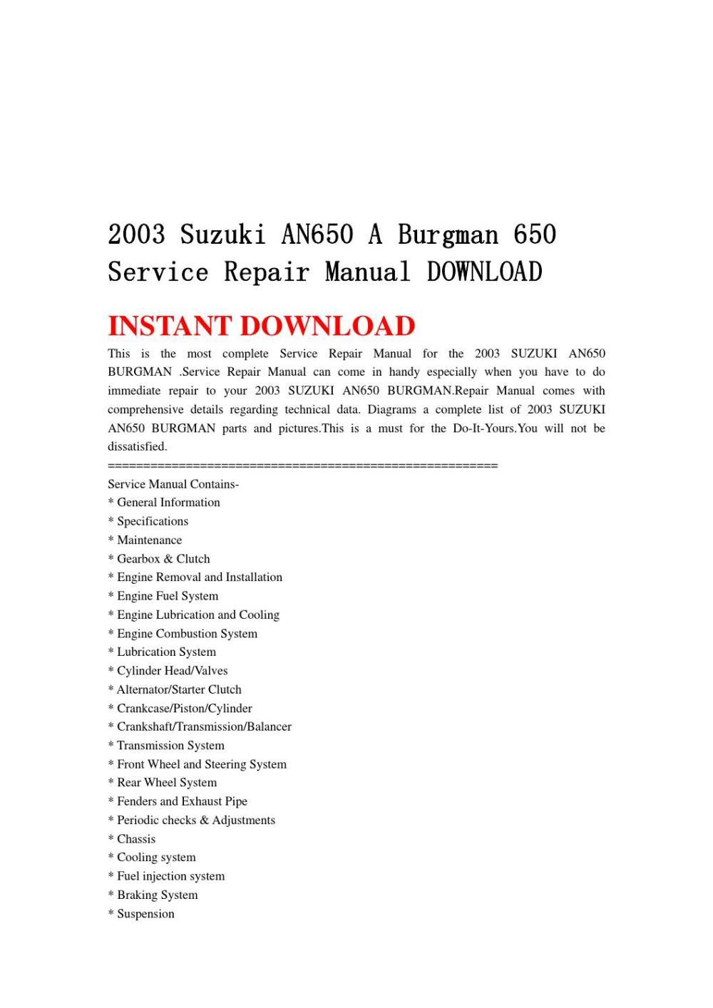 medium resolution of 2003 suzuki an650 a burgman 650 service repair manual download by ksjefkmsef87 issuu
