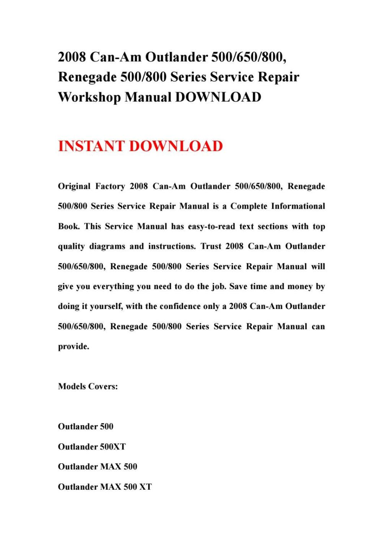 medium resolution of 2008 can am outlander 500650800 renegade 500800 series service repair workshop manual download by ksjefhsnef issuu
