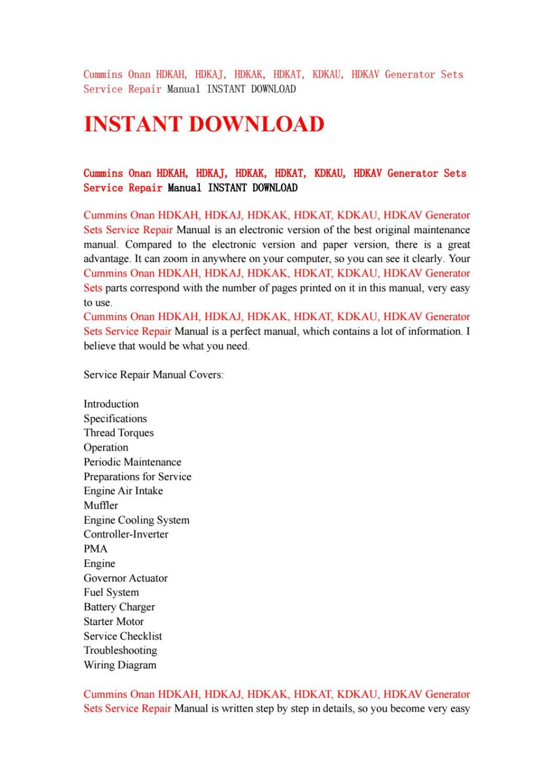 medium resolution of cummins onan hdkah hdkaj hdkak hdkat kdkau hdkav generator sets service repair manual instant d by kfjsjfnsef issuu