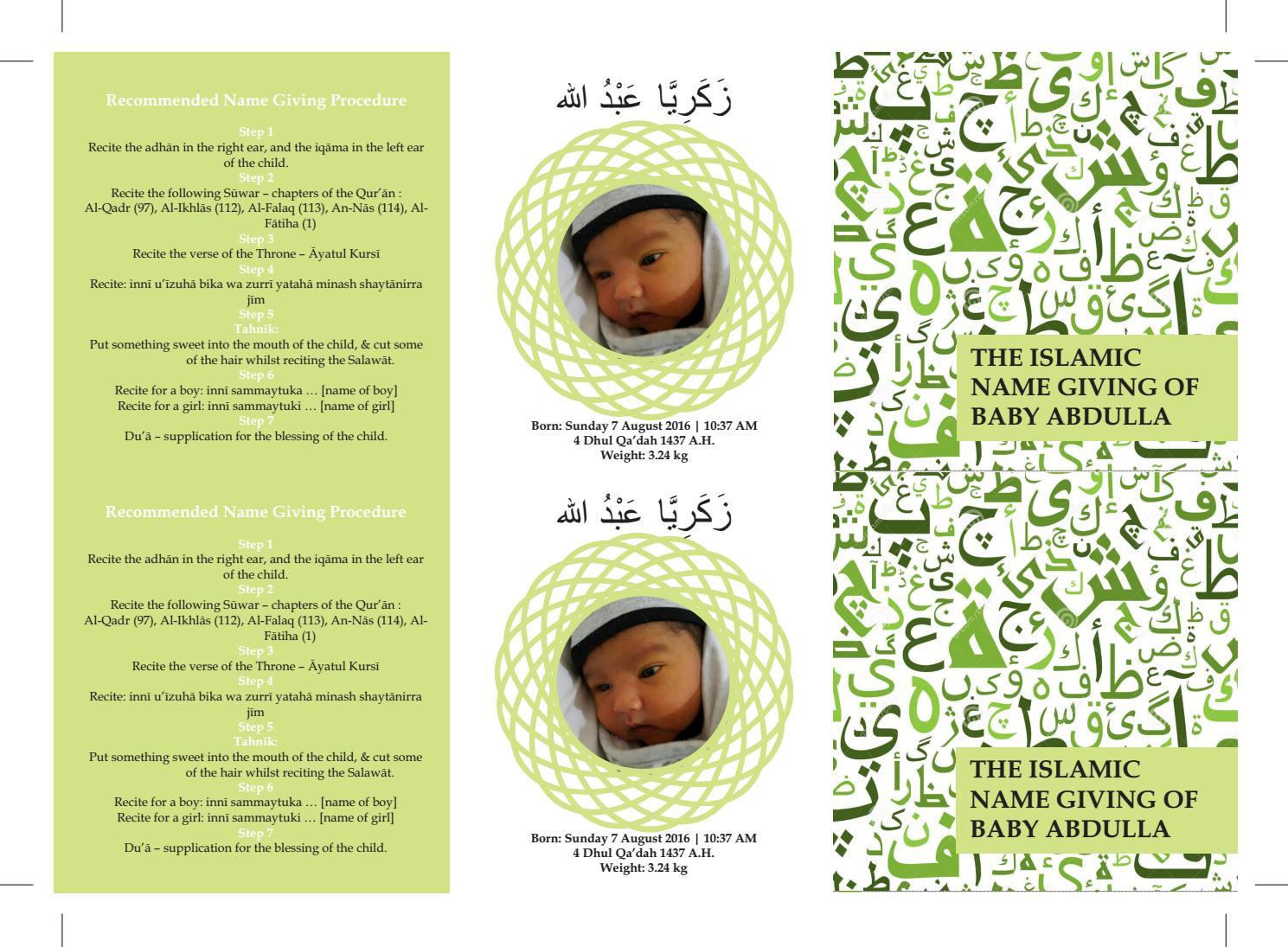 The Muslim Name Giving Ceremony Tasmiya By Lutfi Omar Issuu