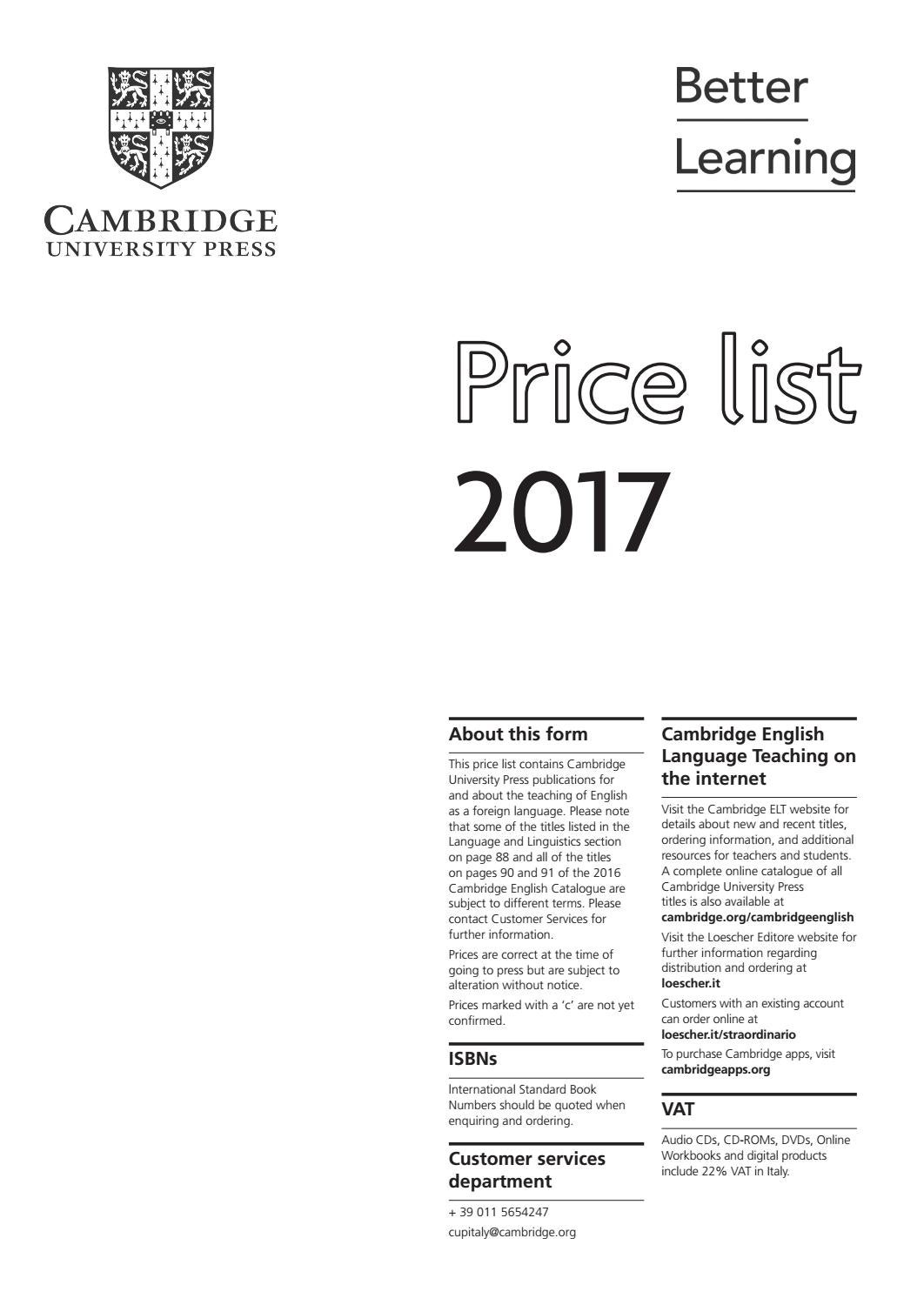 Cambridge University Press ELT price list 2017 ITALY by