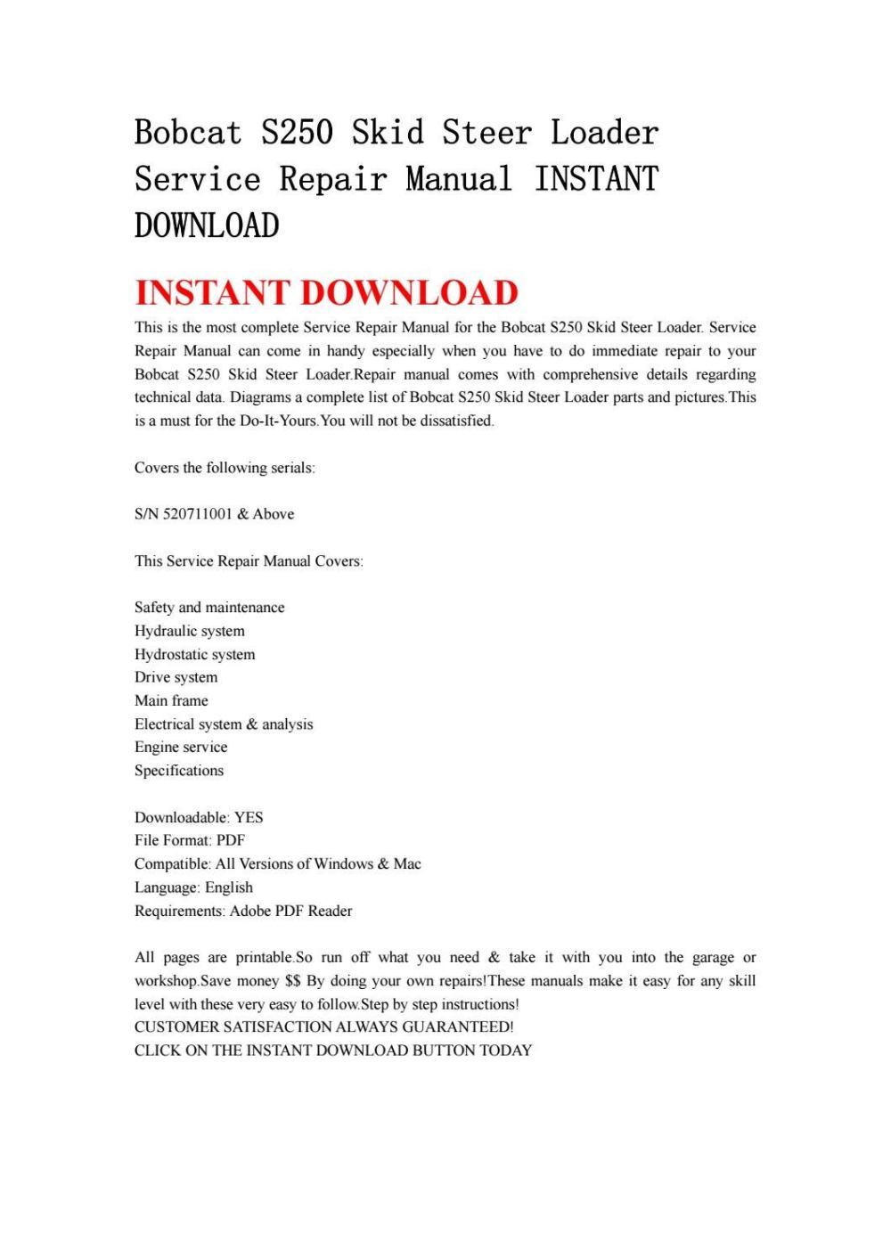 medium resolution of bobcat s250 skid steer loader service repair manual instant download by kjjshefjnsnef issuu