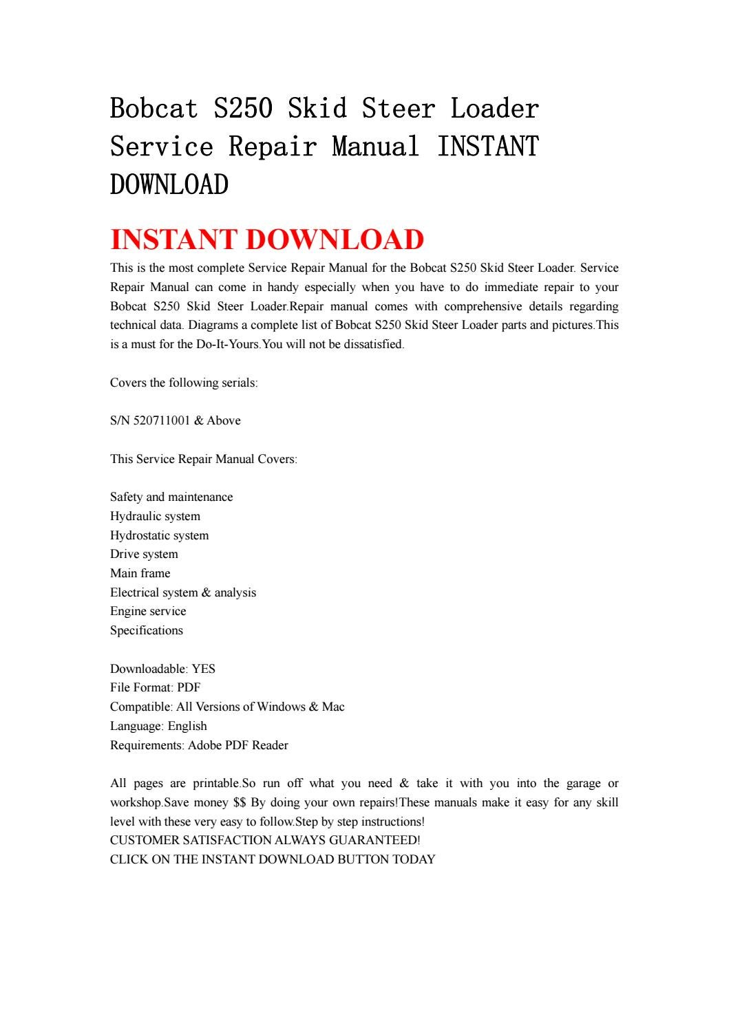 hight resolution of bobcat s250 skid steer loader service repair manual instant download by kjjshefjnsnef issuu