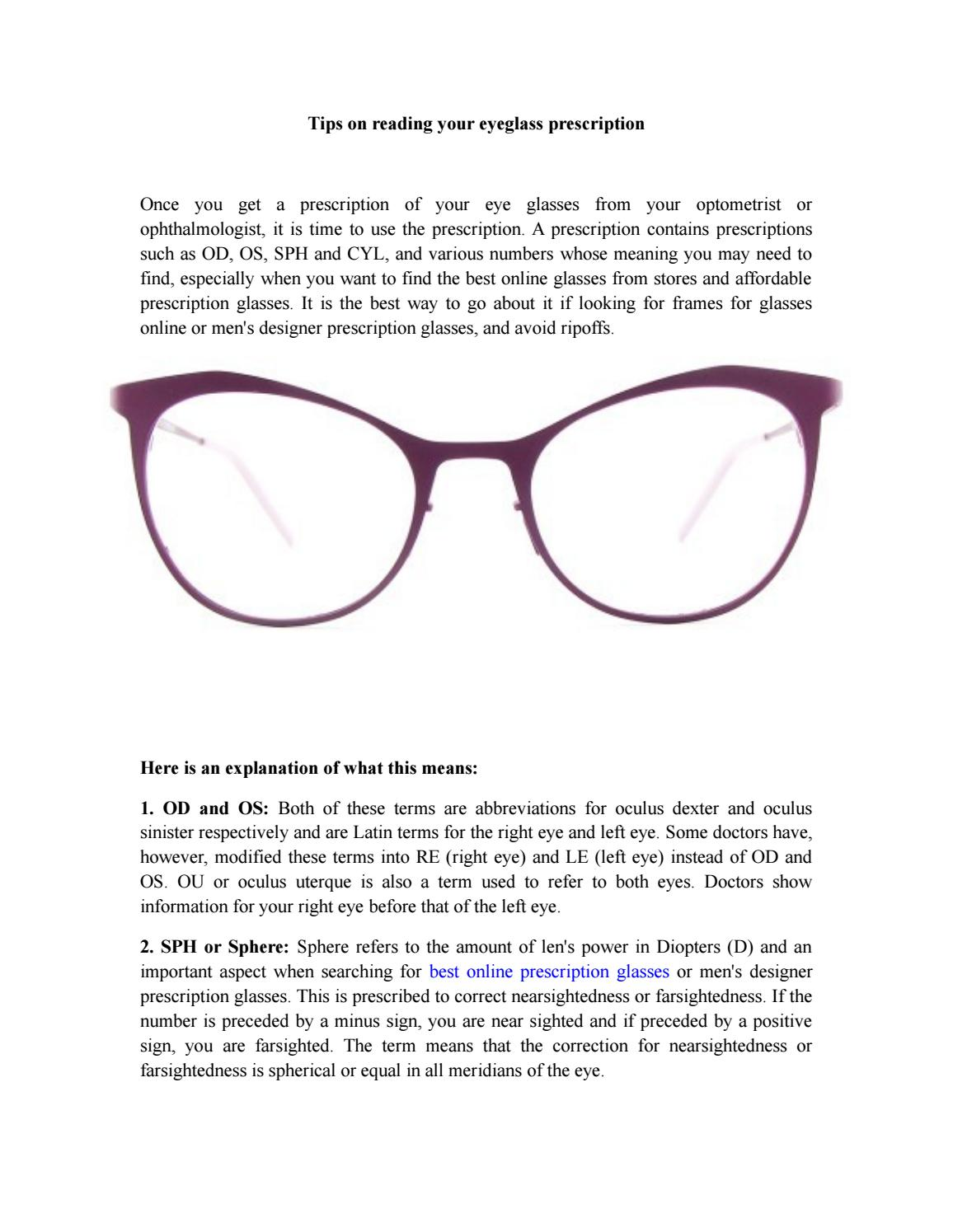 Tips on reading your eyeglass prescription by ...