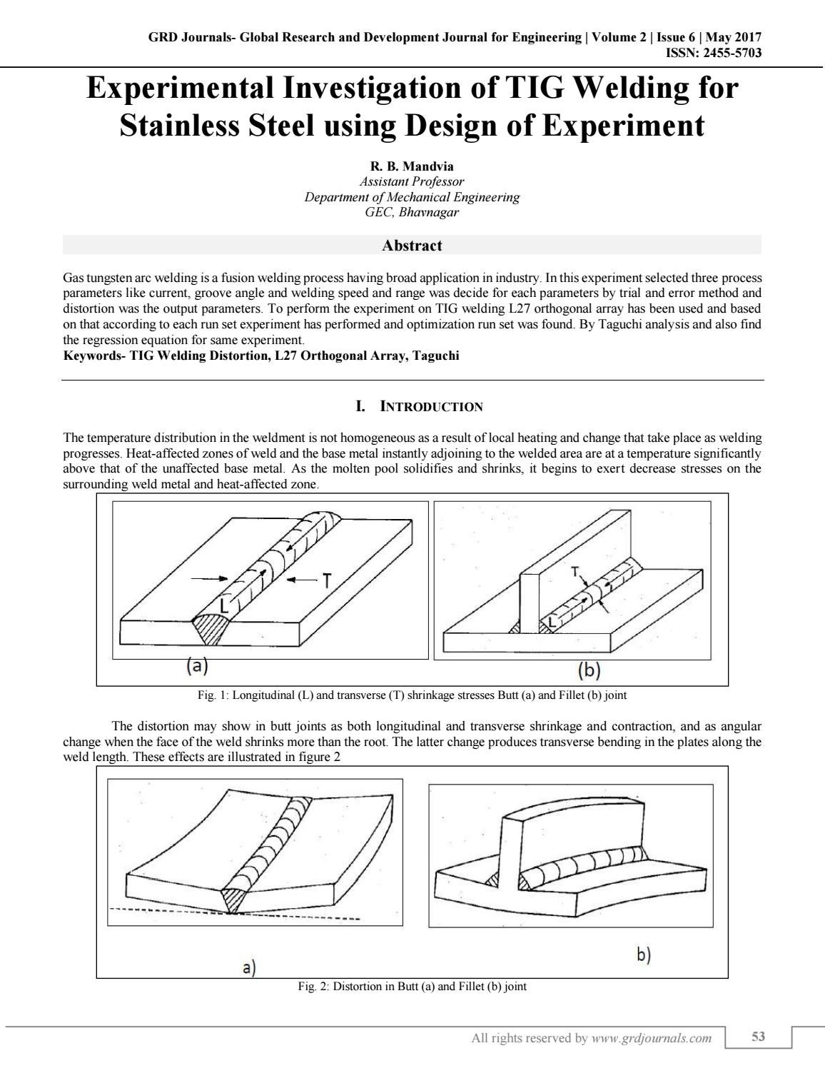 hight resolution of experimental investigation of tig welding for stainless steel using design of experiment by grd journals issuu