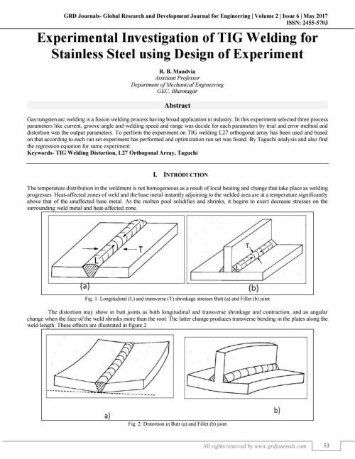 small resolution of experimental investigation of tig welding for stainless steel using design of experiment by grd journals issuu