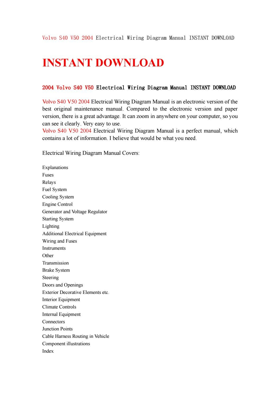 hight resolution of volvo s40 v50 2004 electrical wiring diagram manual instant download by kjjsemfmse issuu