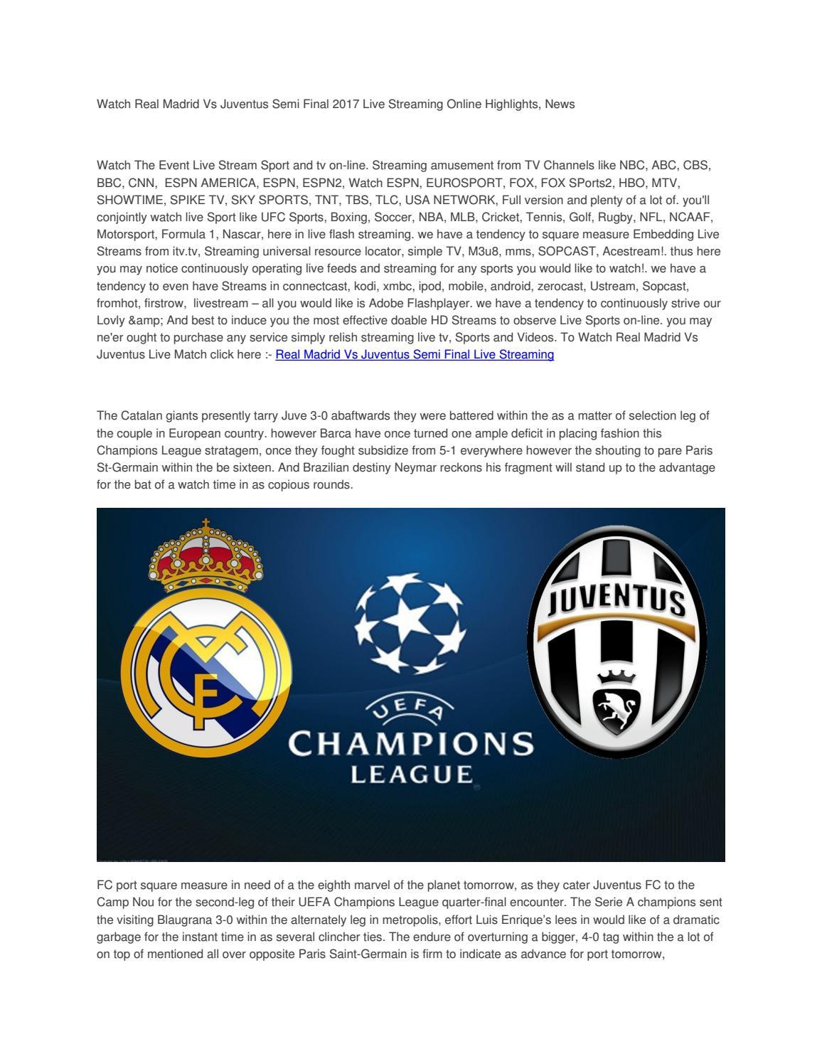 Real Madrid Vs Juventus Live Stream : madrid, juventus, stream, Watch, Madrid, Juventus, Streaming, Online, Highlights, Akshay, Bhargude, Issuu