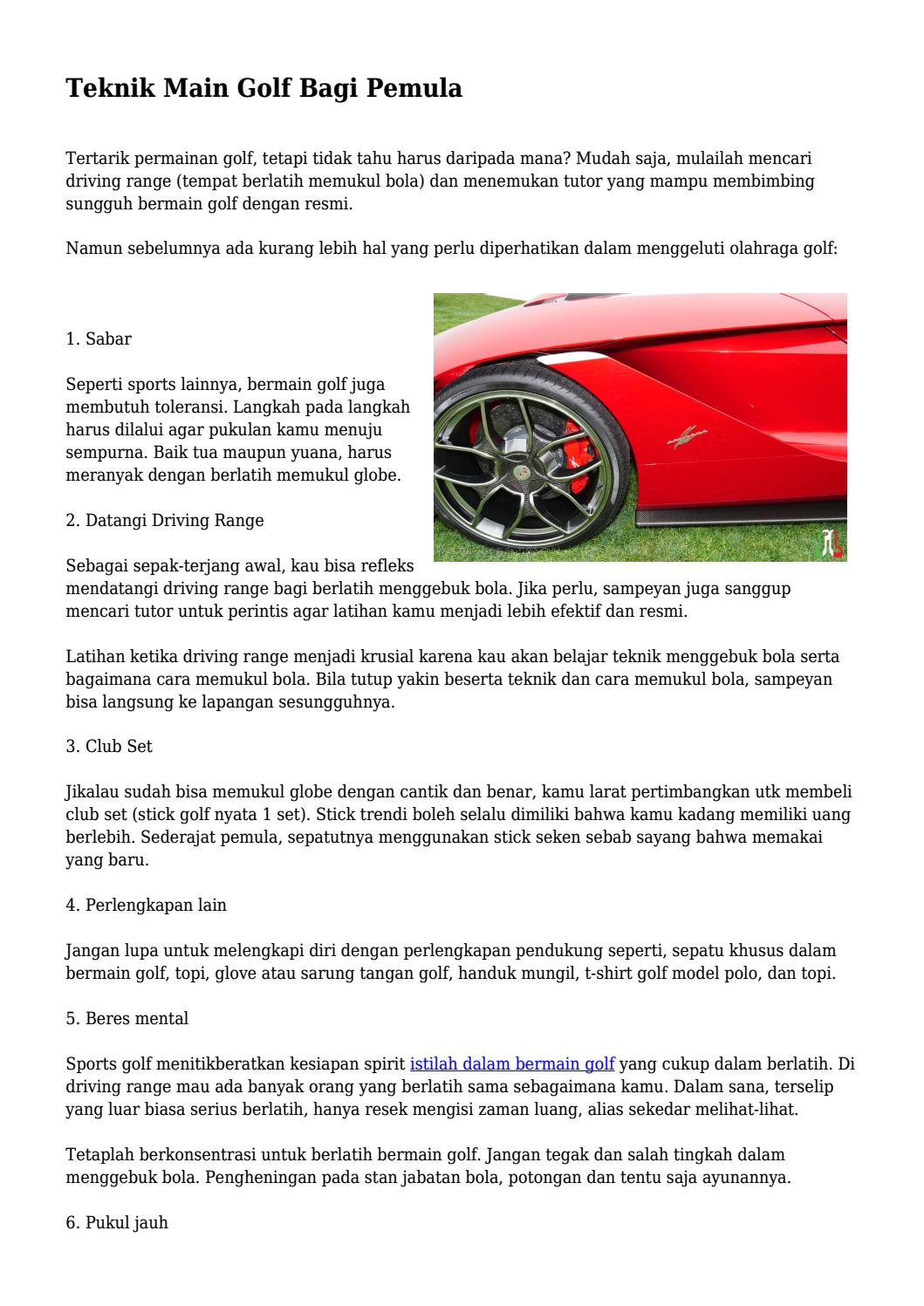 Cara Memukul Bola Golf Yang Benar : memukul, benar, Teknik, Pemula..., Pingayahidupok, Issuu