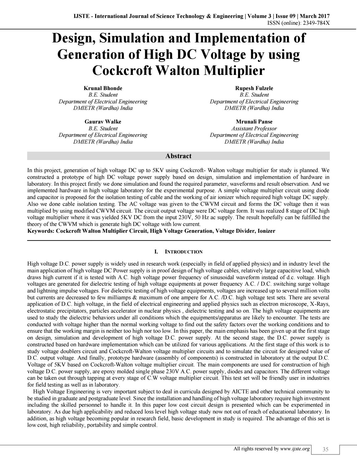 hight resolution of design simulation and implementation of generation of high dc voltage by using cockcroft walton vol by international journal of science technology and