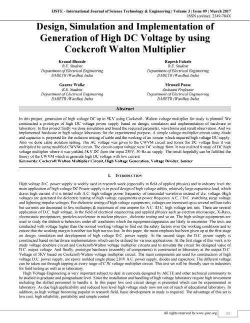 small resolution of design simulation and implementation of generation of high dc voltage by using cockcroft walton vol by international journal of science technology and