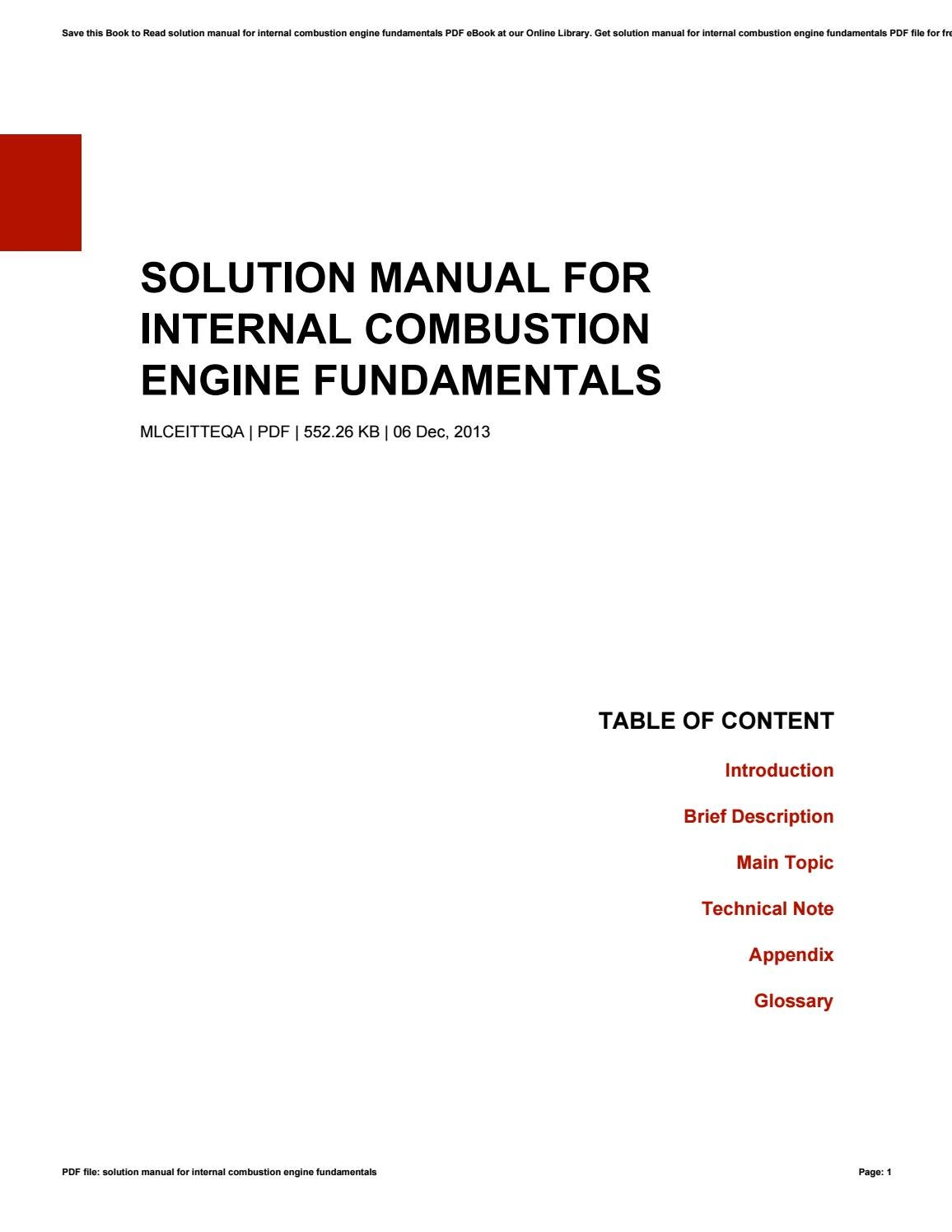 Solution manual for internal combustion engine