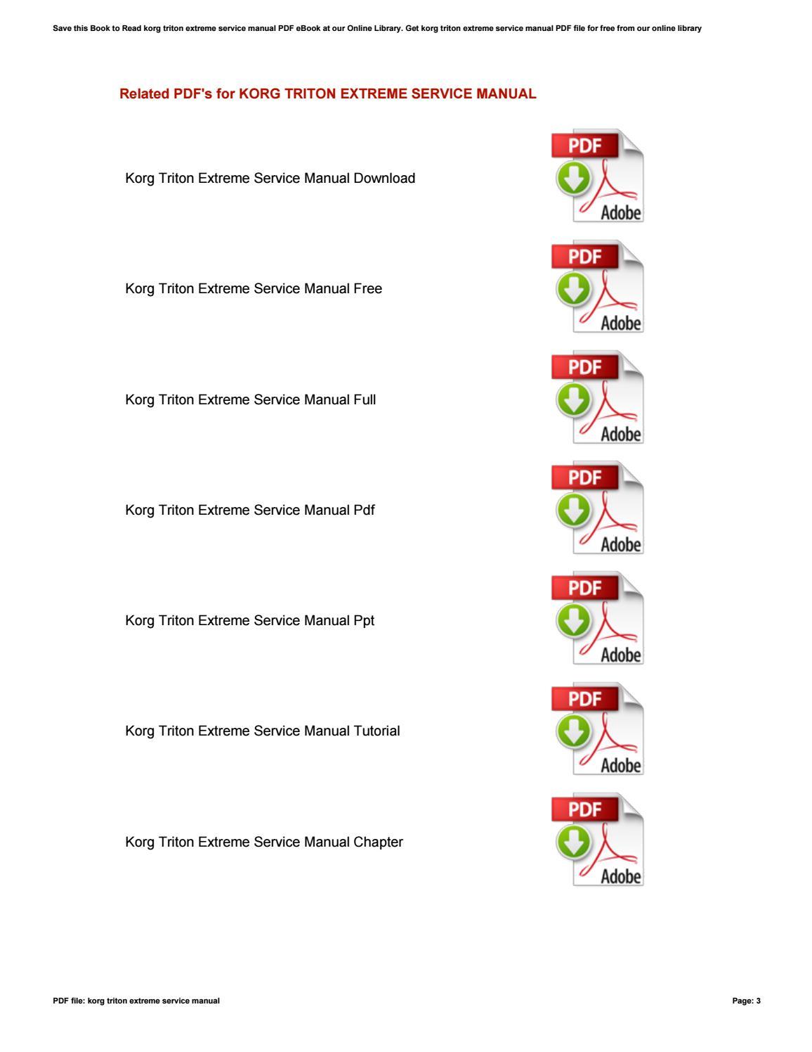 Korg triton extreme service manual by NorrisRandall2987