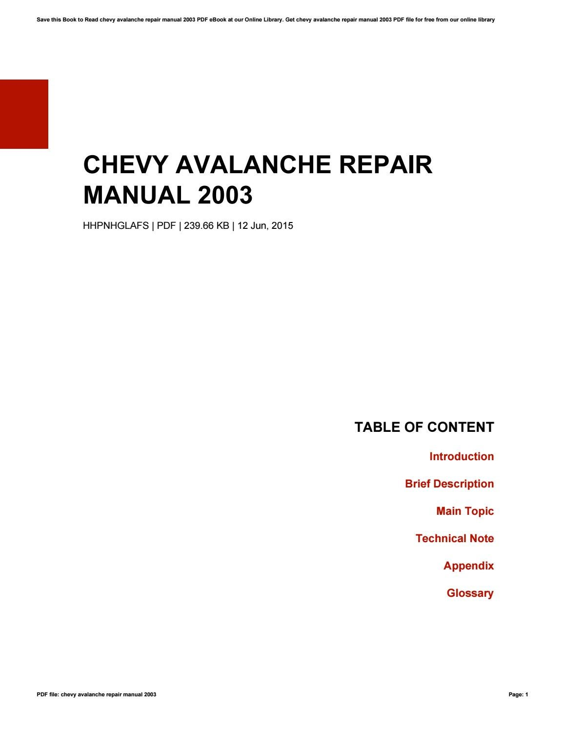 Chevy avalanche repair manual 2003 by StarRodriguez1713