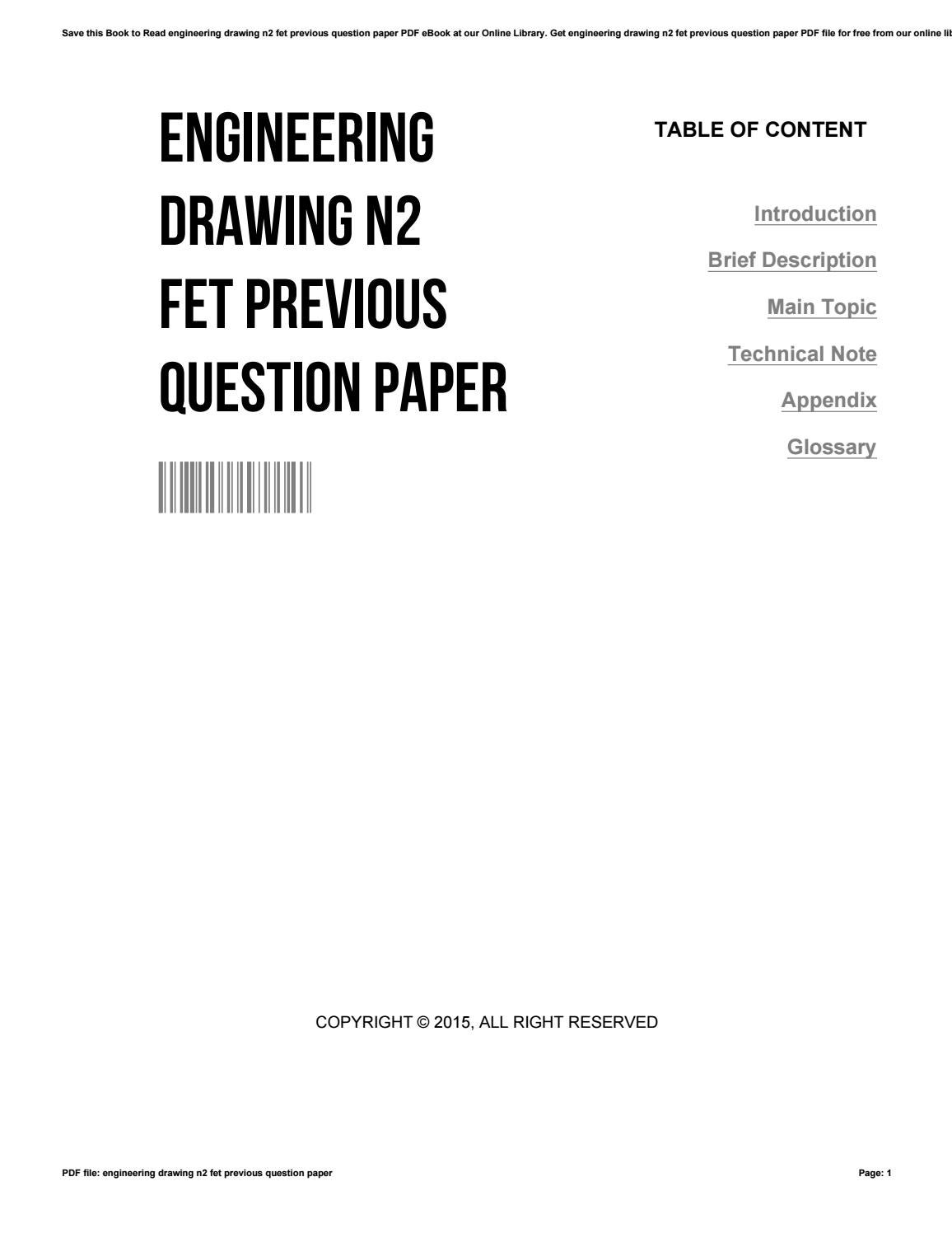 Engineering drawing n2 fet previous question paper by