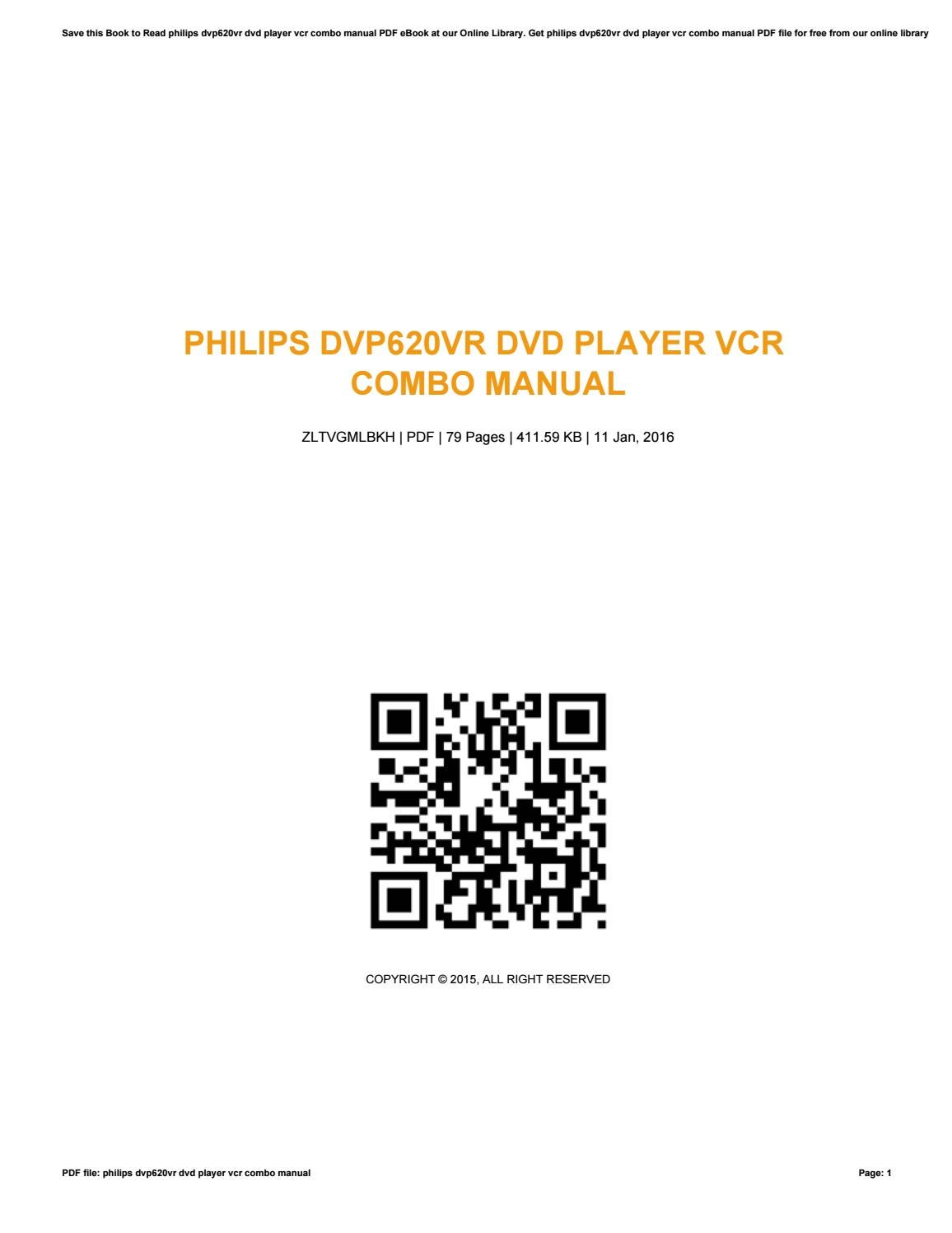 Philips dvp620vr dvd player vcr combo manual by