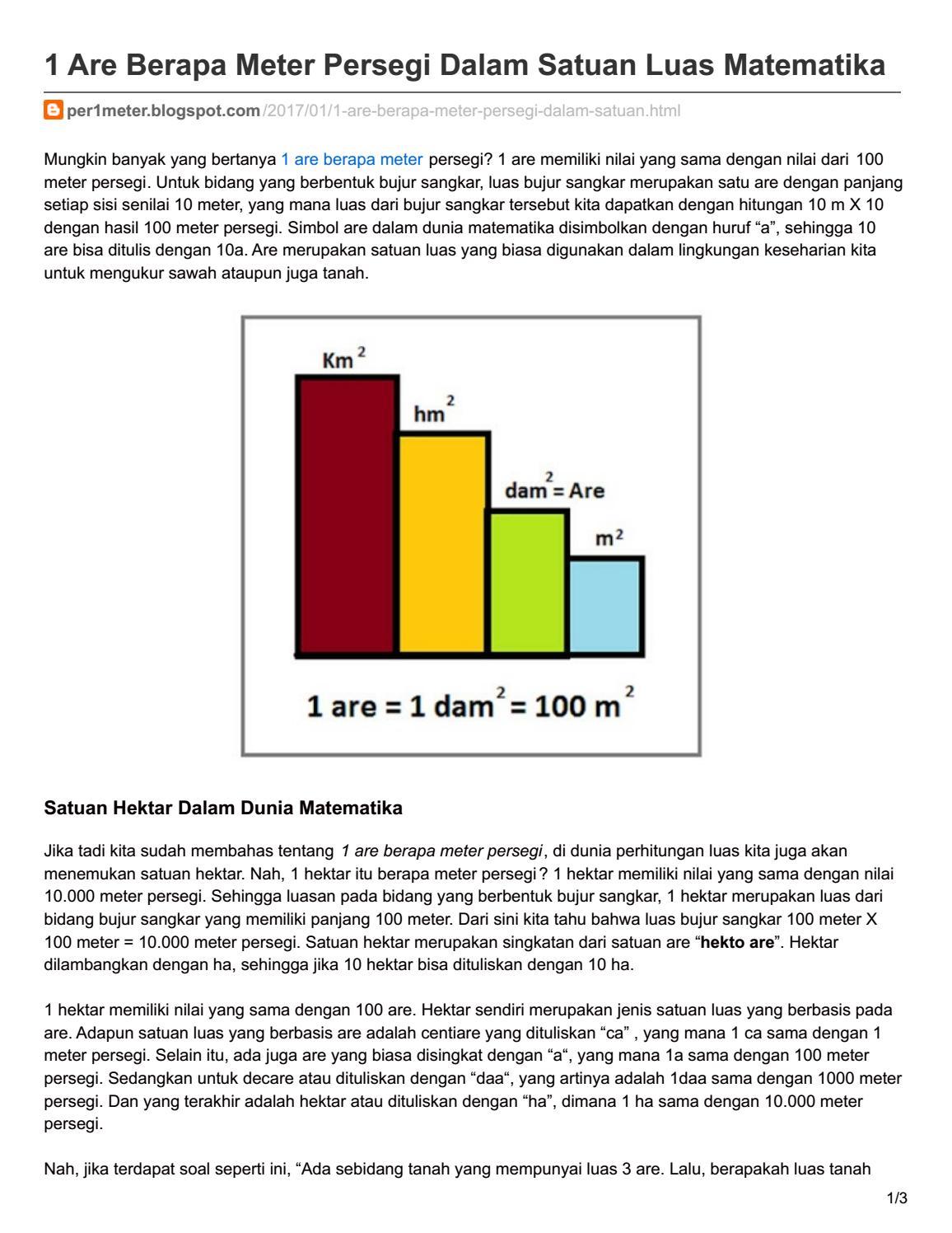 1 Are Berapa Meter Persegi : berapa, meter, persegi, Per1meter, Blogspot, Berapa, Meter, Persegi, Dalam, Satuan, Matematika, Yoedhistiera, Nugraha, Issuu