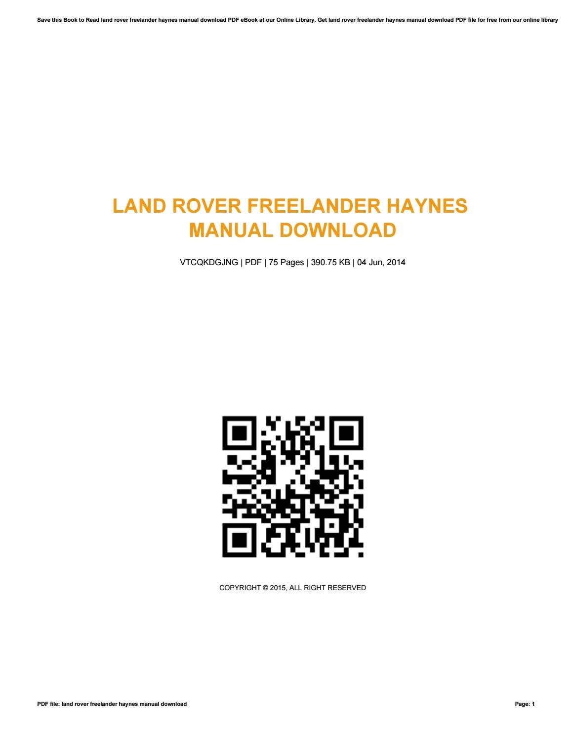 Land rover freelander haynes manual download by