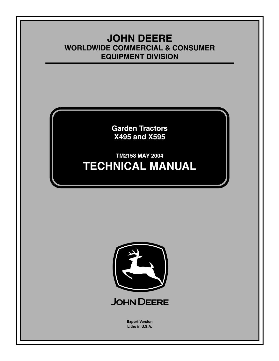 John deere x495 lawn & garden tractor service repair