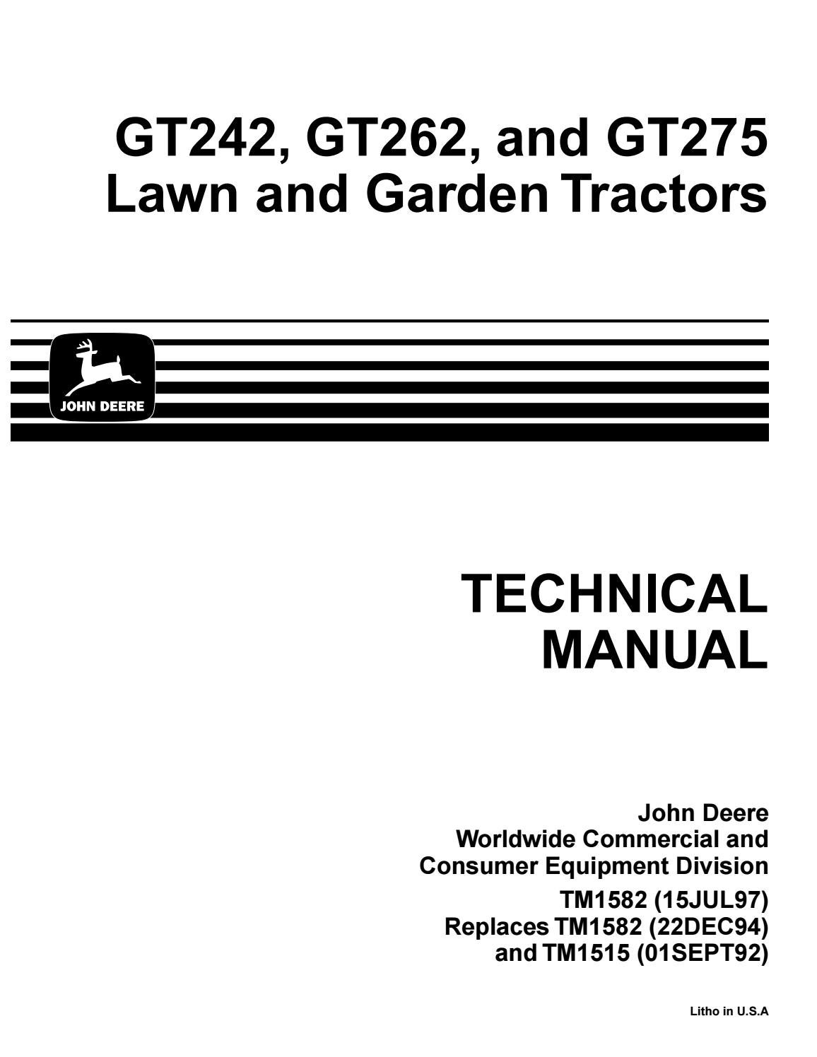 hight resolution of john deere gt275 lawn garden tractor service repair manual by ujfjisefjj issuu