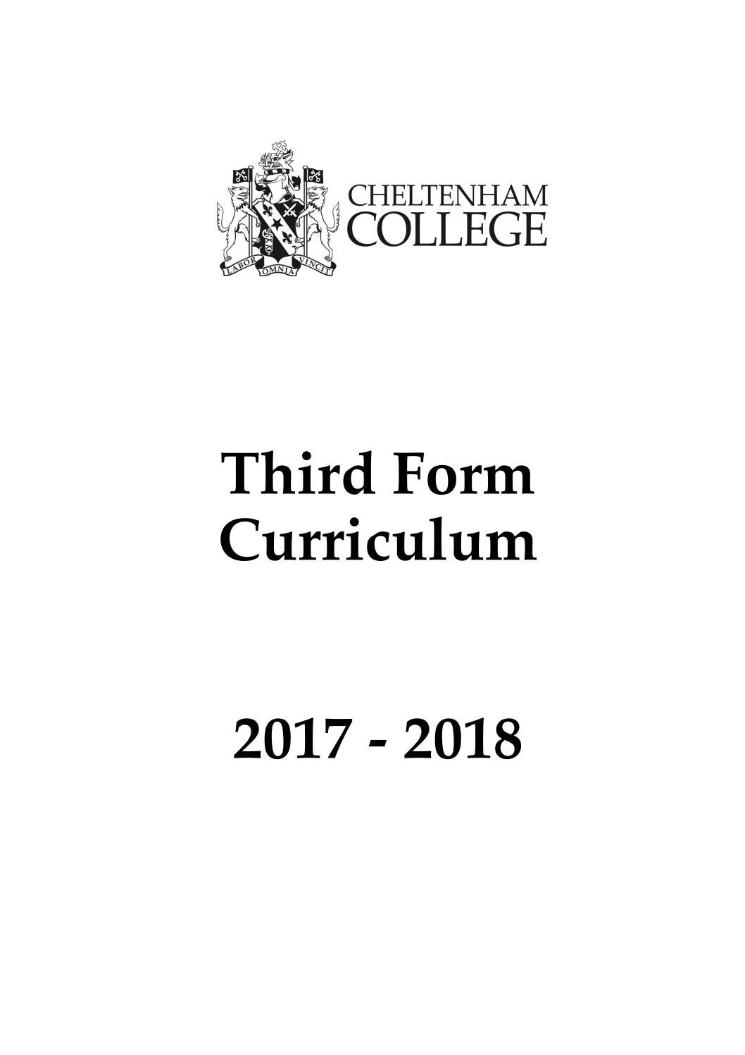 Third Form Curriculum Handbook 2017-18 by Cheltenham